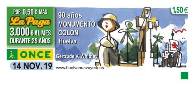 Cupón de la ONCE en conmemoración del 90 Aniversario del Monumento a Colón